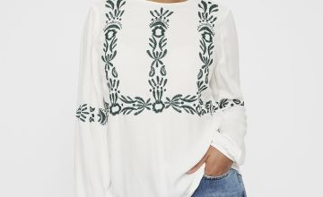 Cream Embroidered Boho Blouse