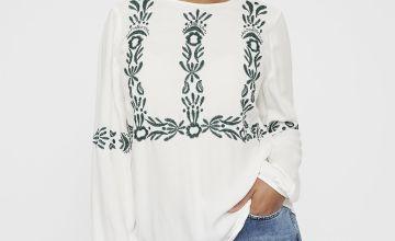 Cream Embroidered Boho Blouse