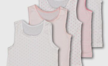 White & Pink Heart & Stripe Vest 5 Pack - 9-10 years