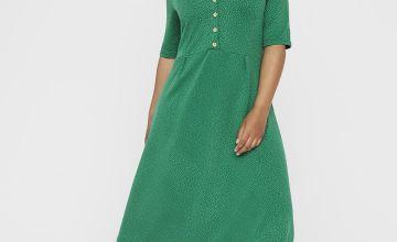 Green Jacquard Button Front Swing Dress