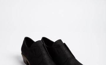 Black Low Cut Western Shoe