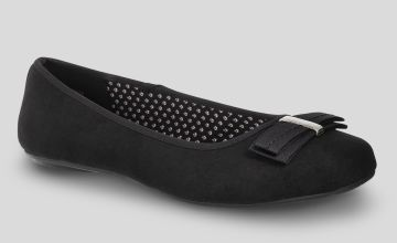 Black Ballet Pump With Bow Wide Fit