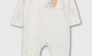Peter Rabbit White Printed Sleepsuit