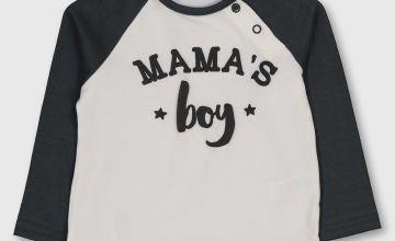 White & Grey 'Mama's Boy' Raglan Sleeve Top