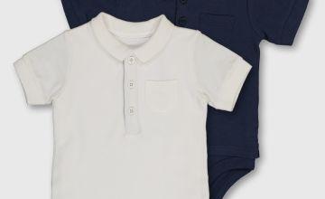 Navy & White Pique Polo Shirt Bodysuits 2 Pack