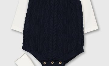 Navy Cable Knit Bodysuit & White Bodysuit 2 Pack