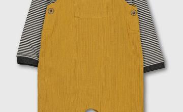 Ochre Crepe Dungarees & Stripe Bodysuit