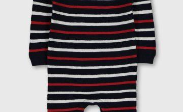 Navy Stripe Knitted Romper