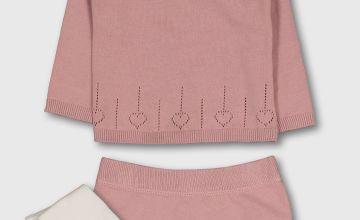 Dusky Pink Frill Collar Jumper, Shorts & Tights Set