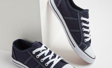 Navy Blue Eyelet Canvas Shoes