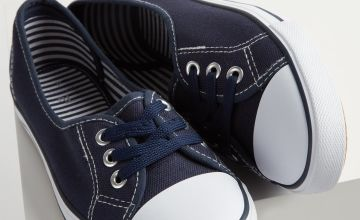 Navy Low Lace Canvas Shoes
