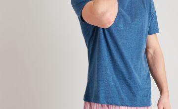 Denim Blue Marl & Red Stripe Pyjamas