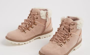 Light Pink Lace Up Hiker Boots