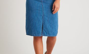 Blue Pastel Pinstripe Denim Pencil Skirt