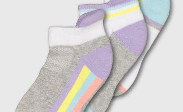 White & Grey Pastel Trainer Sock 3 Pack