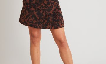 Brown Animal Print Brushed Mini Skirt