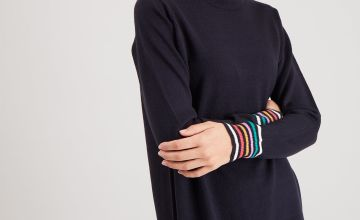 Navy Rainbow Stripe Jumper Dress