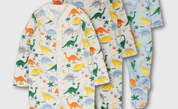 Multicoloured Dinosaur Print Sleepsuit 3 Pack