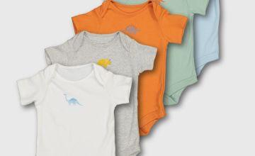 Multicoloured Dinosaur Bodysuit 5 Pack