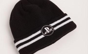PlayStation Black & White Stripe Beanie Hat