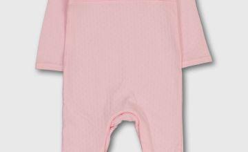 Pink Smocking Pointelle Sleepsuit