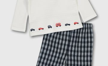 White Car Embroidery Top & Navy Check Trousers