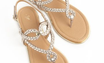 Gold Cross Over Plait Sandals