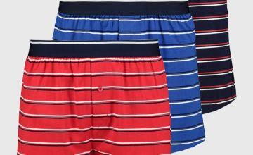 Navy Blue & Red Portland Stripe Jersey Boxer 3 Pack