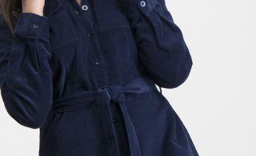 Navy Corduroy Long Sleeve Jumpsuit