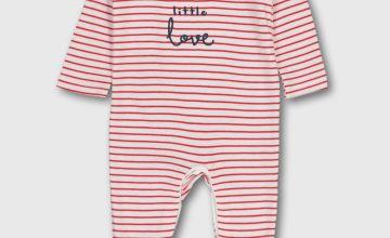 Red Stripe Slogan Sleepsuit - Newborn