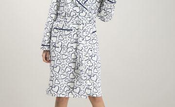 White & Navy Heart Print Dressing Gown