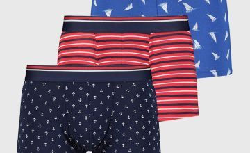 Navy & Red Nautical Print Hipsters 3 Pack