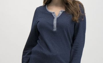 Navy Striped & Spotted Henley Pyjama Top