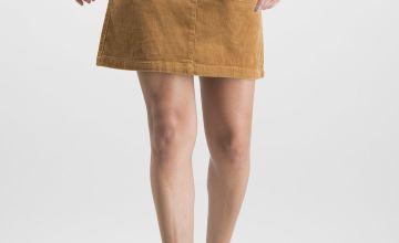 Tan Cord Mini Skirt
