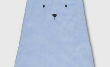 Blue Stripy Bear Velour 1.5 Tog Sleeping Bag - 12-18 months