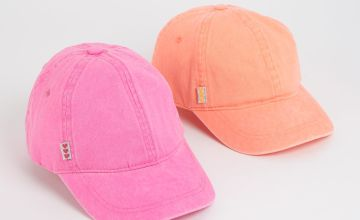 Pink & Orange Washed Caps 2 Pack