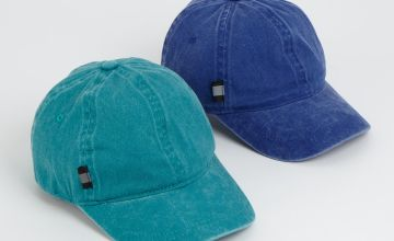 Blue & Teal Washed Caps 2 Pack