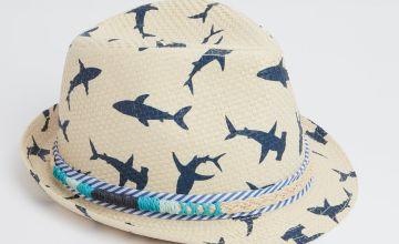 Natural Straw & Navy Shark Print Trilby