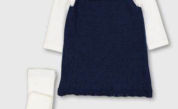 Navy Pinafore With Bodysuit & Tights - Up to 1 mth
