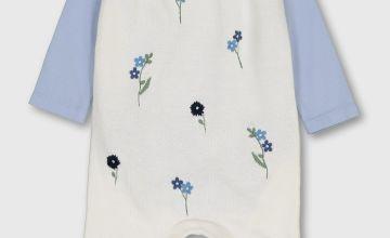 White & Blue Romper & Bodysuit Set