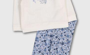 Cream Top & Blue Floral Leggings