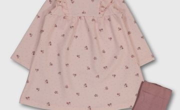 Pink Ponte Dress With Tights & Headband