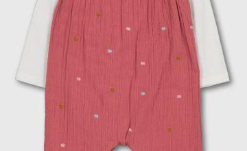 Pink Spot Crepe Dungarees & White Bodysuit