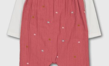 Pink Spot Crepe Dungarees & White Bodysuit - 18-24 months