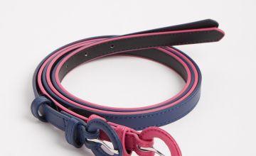 Navy & Pink Thin Belt 2 Pack