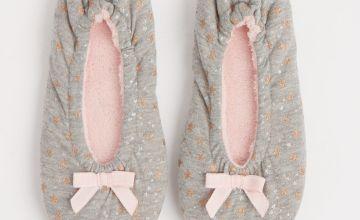 Grey Star Print Ballerina Slippers