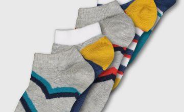 Grey Chevron & Stripe Trainer Socks 2 Pack - 12.5-3.5
