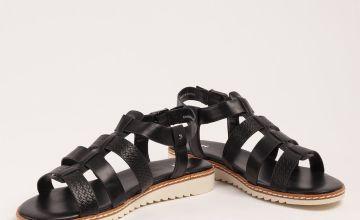 Black Faux Leather Gladiator Sandals