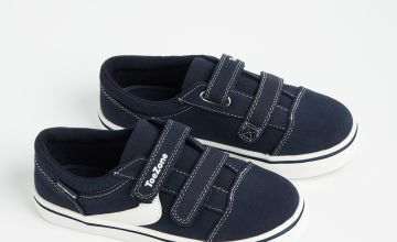TOEZONE Navy Twin Strap Canvas Trainers
