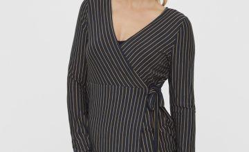 Black Striped Wrap Nursing Top